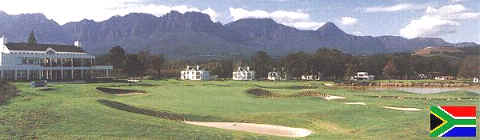 Erinvale clubhouse with Hottentots mountains in the background